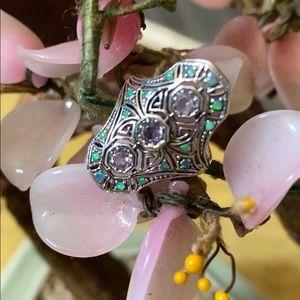 Vintage 925 Art Deco amethyst opal ring